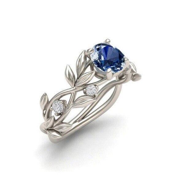2018 Heißer Frauen Silber Farbe Hochzeit Engagement Ring Blatt Design Luxus Zirkonia Versprechen Ring Schmuck Geschenk Anillos #25