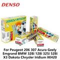 4 шт./компл. автомобильная свеча зажигания DENSO для Peugeot 206 Acura Geely Emgrand BMW 328i 128i 325i 528i X3 Dakota Chrysler Iridium IKH20