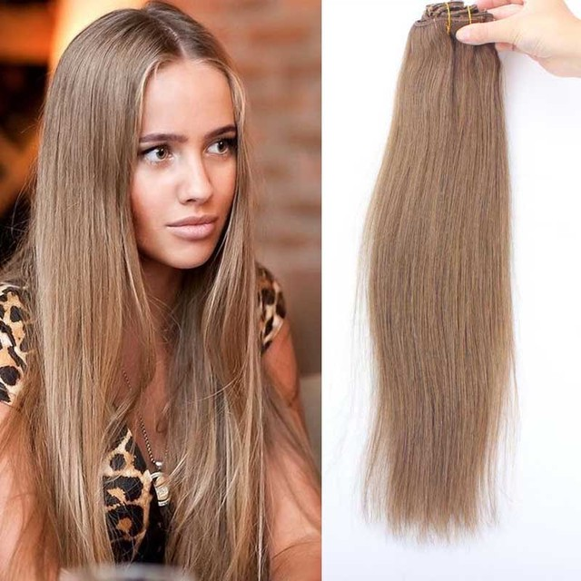 8a Russian Remy Hair Straight Clip In Extensions Blonde 8 Light