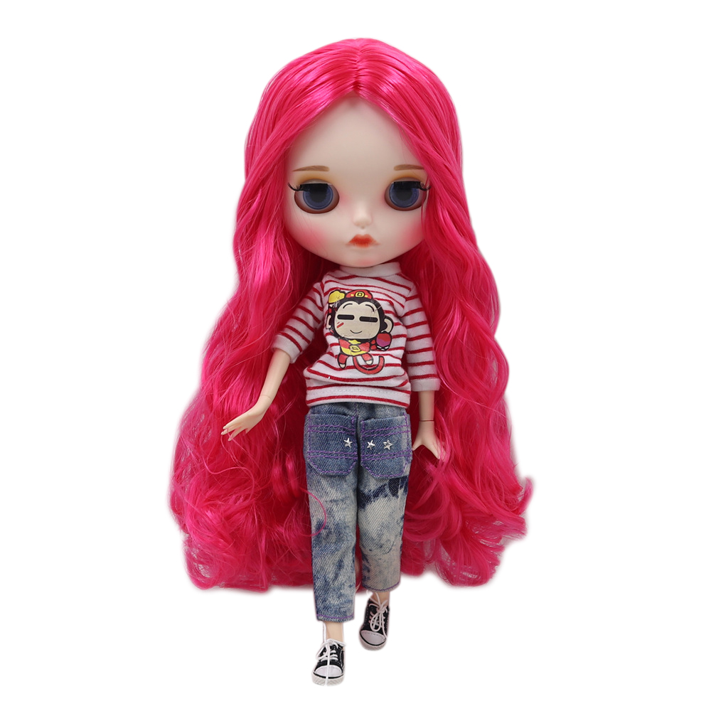 Blyth doll nude 30cm doll No BL1290 with long red cuirly hair and matte face joint