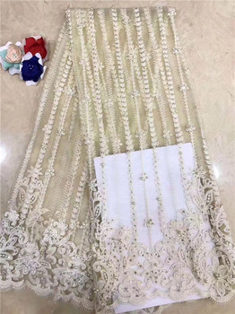 Wonderful French net lace fabric pretty tulle mesh material with  beads for evening dress PNZ867(5yards/lot) multi color