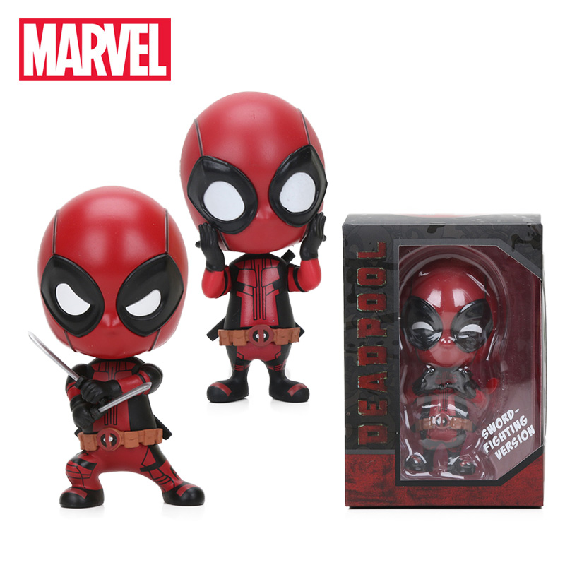 Mini 10cm Marvel Toys Deadpool Figure Bobble-Head 1/10 Scale Pre-painted Spider Man Black Panther Collectible Model Dolls Toy(China)