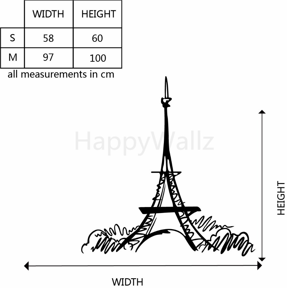 Eiffel Tower Wall Sticker Paris Eiffel Tower Wall Decal DIY Modern Wall Decors Removable Easy Wall Stickers M3
