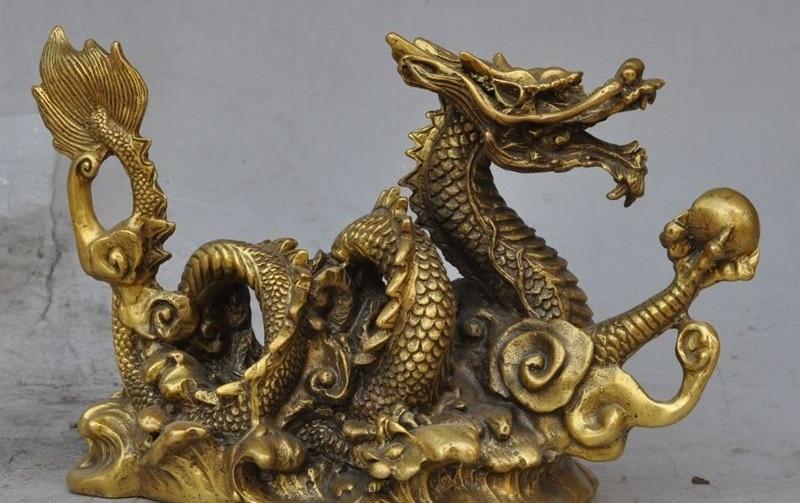 "5.9/""Collect Chinese Bronze Twelve Zodiac Animal Dragon Play Ball Statue Statuary"