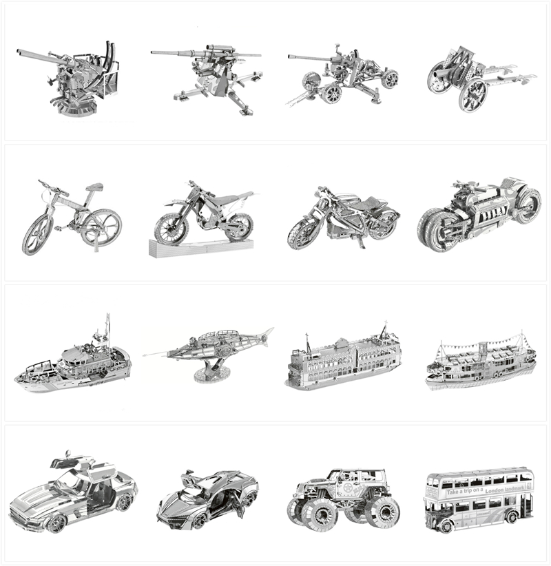 Motorcycle 3D Metal Puzzles Ship Tank Architecture Car Model Laser Cut Assemble Jigsaw Adult Gifts Toys Collection Home Decor