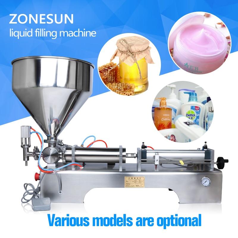 ZONESUN Horizontal Pneumatic Auto Paste Cosmetic cream Filling Machine 5-100ml, cosmetic filler, cream filler