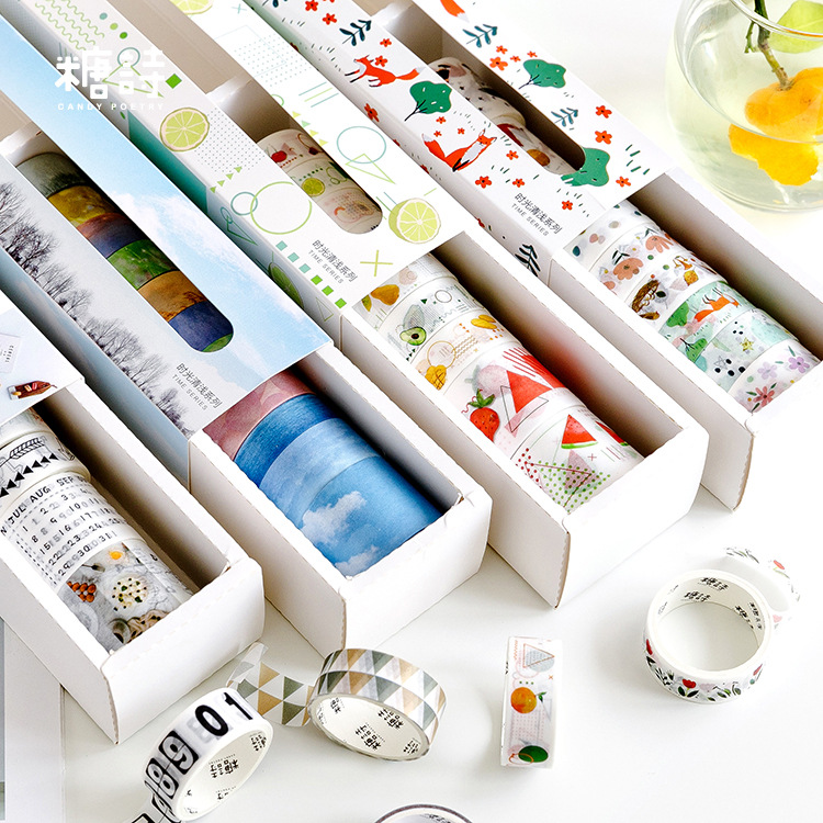 10pcs/pack Maple Forest Animals Washi Tape Diy Scrapbooking Sticker Label Masking Tape School Office Supply Japanese Stationery