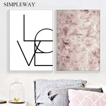 Feather Love Poster Nordic Wall Art Print Minimalis Canvas Painting Simple Decorative Picture Scandinavian Home Decoration