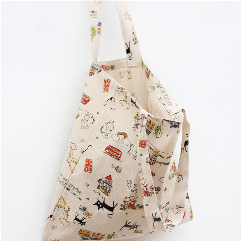YILE Cotton Linen Shopping Tote Shoulder Carrying Bag Eco Reusable Bag Printed Black Cat NEW  L024