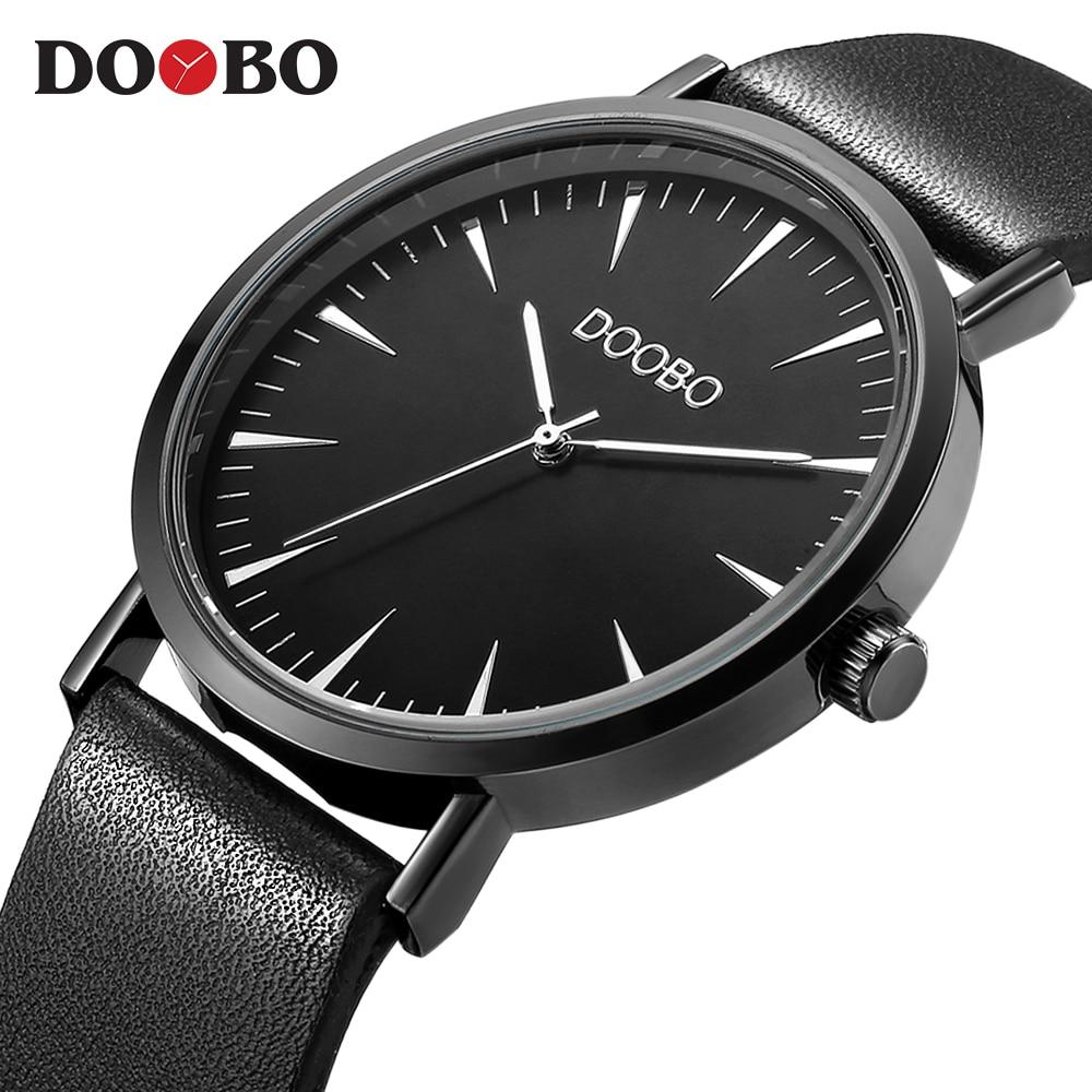 de01dafd41d ... Marca de Luxo Top Relógio de Quartzo Casuais Homens Preto Quartzo- relógio Pulseira Couro Ultra Fino Masculino 2017 Saat Feminino Doobo ...