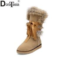 DoraTasia 2017 Large Sizes 34 43 Knot Rabbit Fur Women Shoes Woman Flat Heels Comfortable Warm