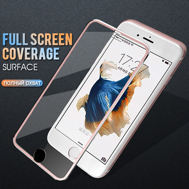 3D Aluminum Alloy Tempered Glass For Iphone 6 6s 7 8 Plus Full Cover Edge Screen Protector For Iphone X 10 5 5S SE Glass Film