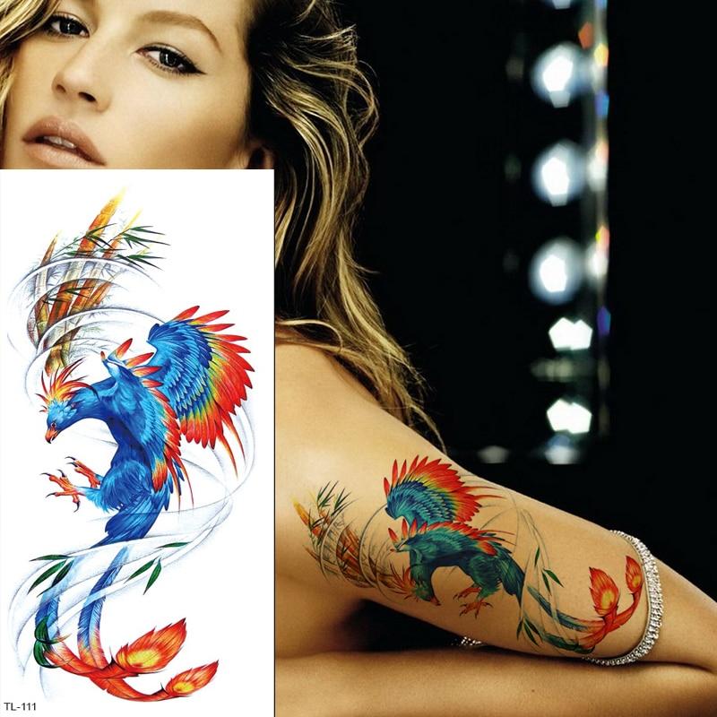 Temporary Tattoo Phoenix Unicorn Fox Tattoo Body Stickers Sexy Tatoo For Woman Fake Tattoo Arm Back Water Transfer Tattoo Women