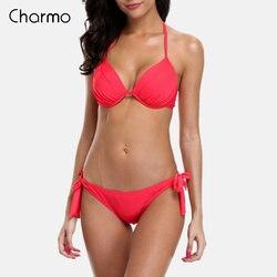 Charmo, Женский комплект бикини, Холтер, купальник, сплошной цвет, купальник, бандаж, купальный костюм, треугольник, пляжная одежда, сексуальное... 3