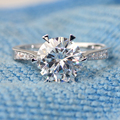 New DEF Color 3 Carat ct Engagement Lab Grown Moissanite Diamond Ring With Real Diamond Accents 14K 585 White Gold