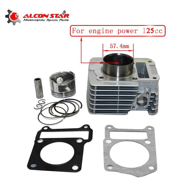 Alconstar- 57.4mm Big Bore Cylinder Piston Ring Gasket Kit For Yamaha YBR125 Motorcycle Cylinder Kit Dirt Pit bike Racing motorcycle cylinder kit for mbk av10 booster big bore 39mm cylinder kit with piston 13mm pin