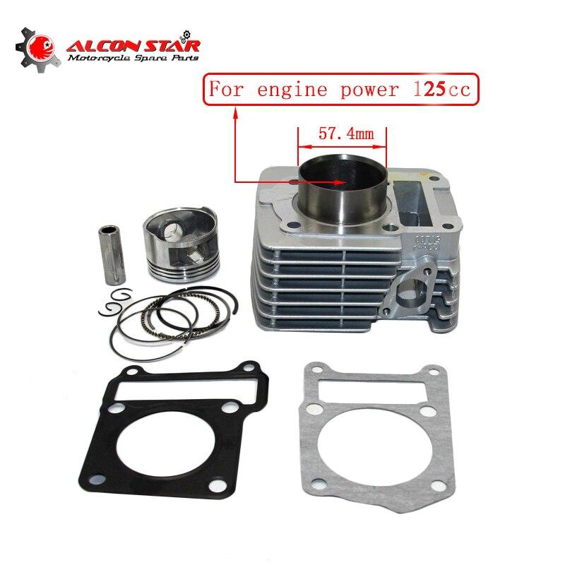 Alconstar-Kit de joint d'anneau de Piston de cylindre de grand alésage de 57.4mm pour Yamaha YBR125 Kit de cylindre de moto