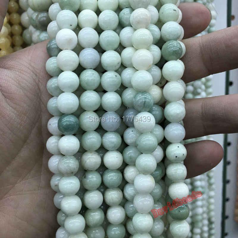 شحن مجاني بالجملة 6 ملليمتر 8 ملليمتر 10 ملليمتر 12 ملليمتر الحجر الطبيعي الأخضر الأبيض Jadee جولة الخرز سوار قلادة صنع المجوهرات