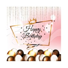 Laeacco Happy Birthday Chocolate Candy Crown Glitters Cartoon Stage Scene Photo Backgrounds Photographic Studio Backdrops