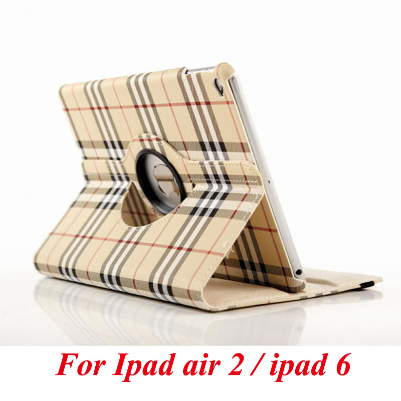 Case For Apple ipad 6 / ipad air 2 flip stand cover PU leather plaid pattern rotate protective tablet cover coque  funda capa 2017 silicon slim soft tablet case for ipad air 1 rubble protective funda cover for apple ipad air 1 2 for ipad 5 6 case capa