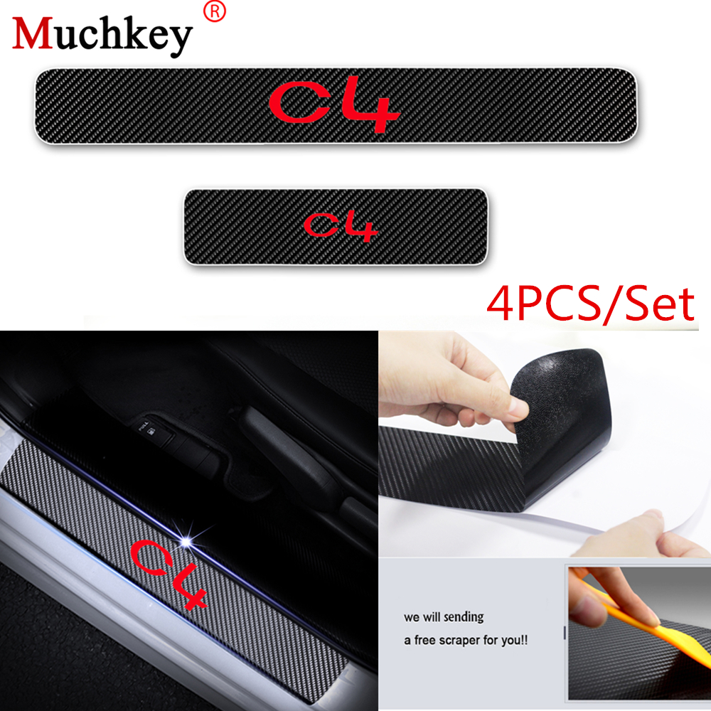 for Ford Focus Door Sill Protector Reflective 4D Carbon Fiber Sticker Door Entry Guard Door Sill Scuff Plate Stickers Auto Accessories 4Pcs Blue
