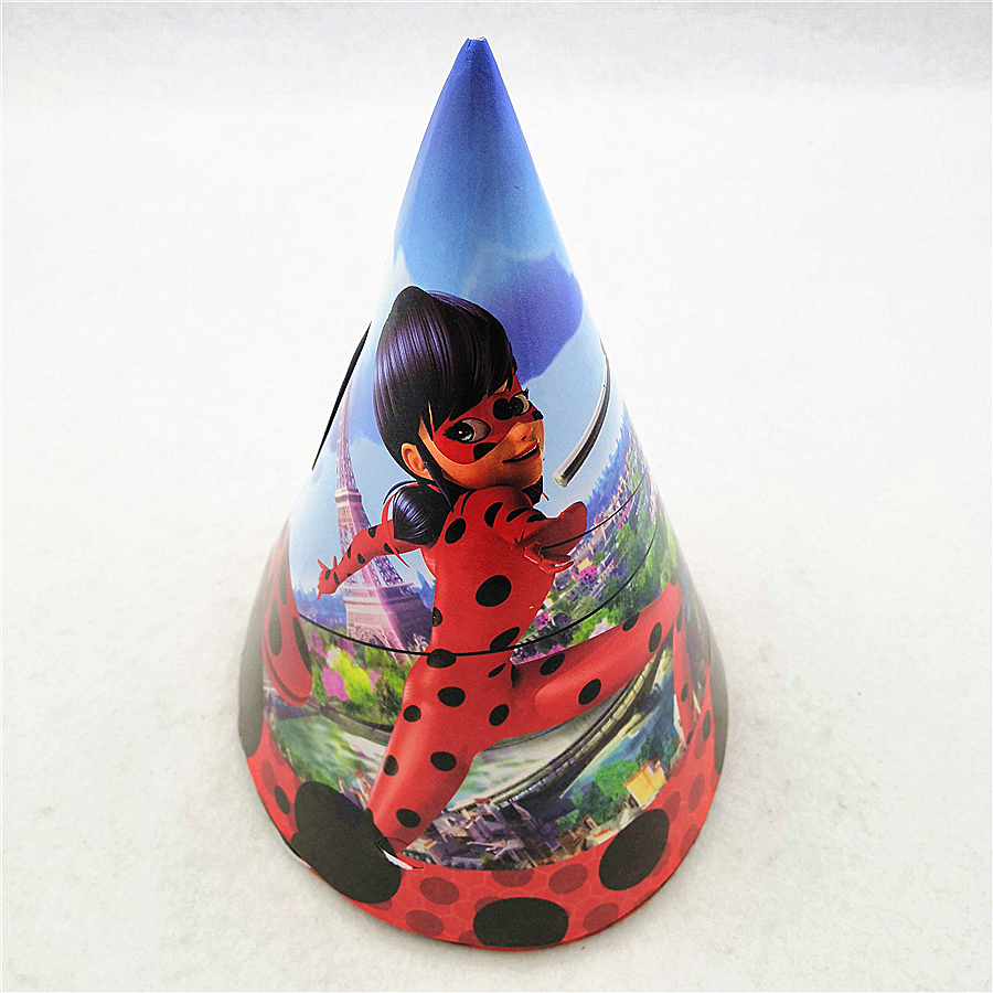 6p Set Kids Birthday Party Supplies Miraculous Ladybug Cosplay Paper Cap Hat Baby Shower Cartoon Theme Decoration Favors In Hats From Home