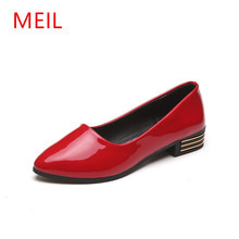 MEIL 2018 New Brand Designer Women Flat Shoes Patent Leather Working Lady Casual Elegant Comfortable Zapatos Muje