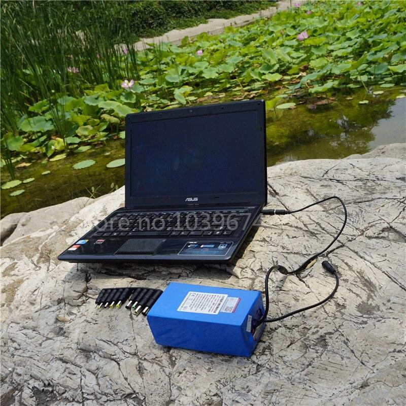 Pour 18 V, 19 V, 20 V ordinateurs portables 10AH LiPO alimentation de secours avec convertisseur 5 V USB Buck & 10 prises & chargeur gratuit