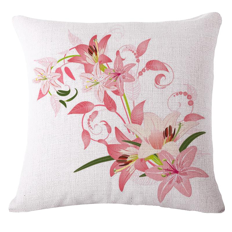 1pcs flower custom cotton linen pink rose decorative pillows sofa 1pcs flower custom cotton linen pink rose decorative pillows sofa chair cushions home decor 45x45cm no fill almofada kussens in cushion cover from home mightylinksfo