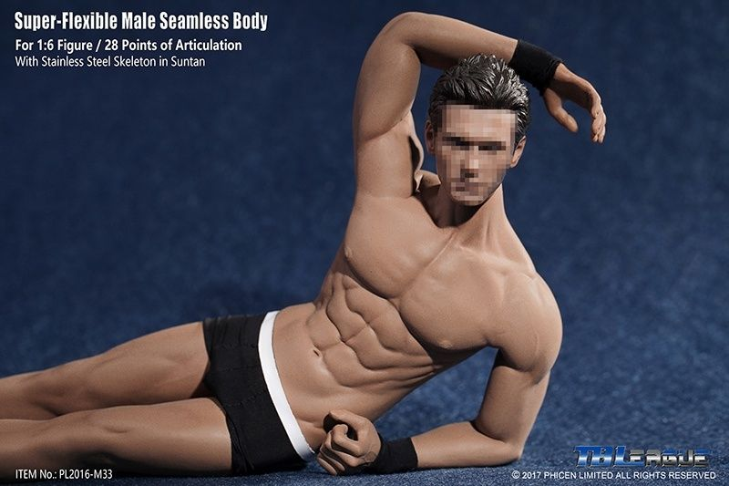 1 6 Super Flexible Seamless Male Doll Body Suntan Man Body 1 6 Steel Stainless Ske Leton Body TB League M30 M31 M32 M33 M34 M35 in Action Toy Figures from Toys Hobbies