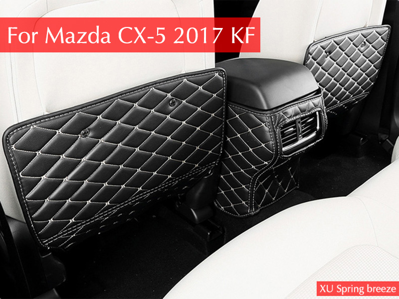 For Mazda CX-5 CX5 2017 2018 KF Car Armrest Rear Seat Kick anti-kick Pad Cover Case Sticker Car-styling Interior Decoration for mazda cx 5 cx5 2017 2018 kf car rear door trunk box trim sticker chrome garnish strips protective decoration car styling