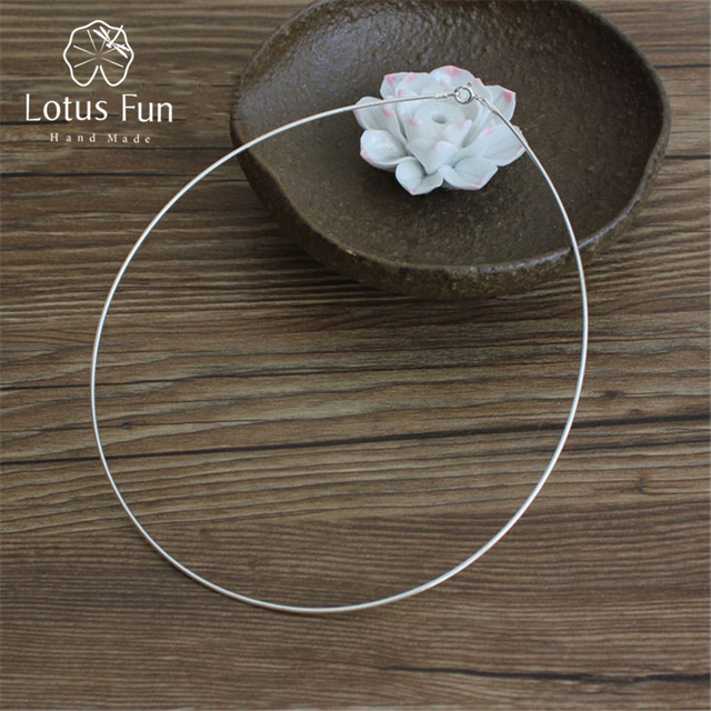 Lotus Fun Real 925 Sterling Silver Handmade Fine Jewelry Fashion Choker Necklace Chain for Women Collier Femme Acessorios