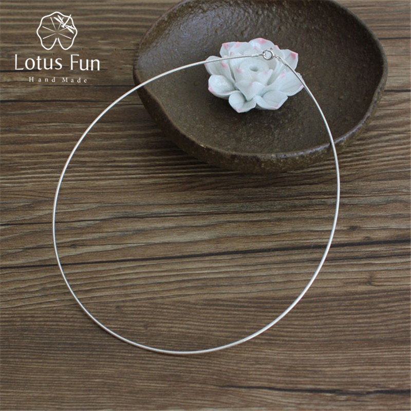 silver choker necklace - Lotus Fun Real 925 Sterling Silver Necklace Handmade Fine Jewelry Fashion Choker Chain for Women Gift Collier Femme Acessorios