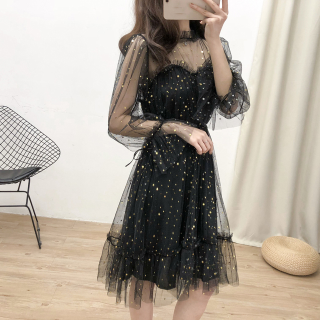 Korean Dress Glitter Sequin Dress Women Mesh Transparent Ruffle Sexy Party Dresses Elegant 2019 Summer Korean Black Clothes Robe
