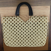 Wooden Bead Weaving Womens Bag Summer Tote Hollow Out Small Bags For Women Handbag Wood Wrapped Handmade Bag Beach Leisure Time