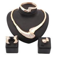 Women 18K Gold Plated Nigerian Wedding African Beads Jewelry Set Crystal Saudi Jewelry Sets Bangle Earring