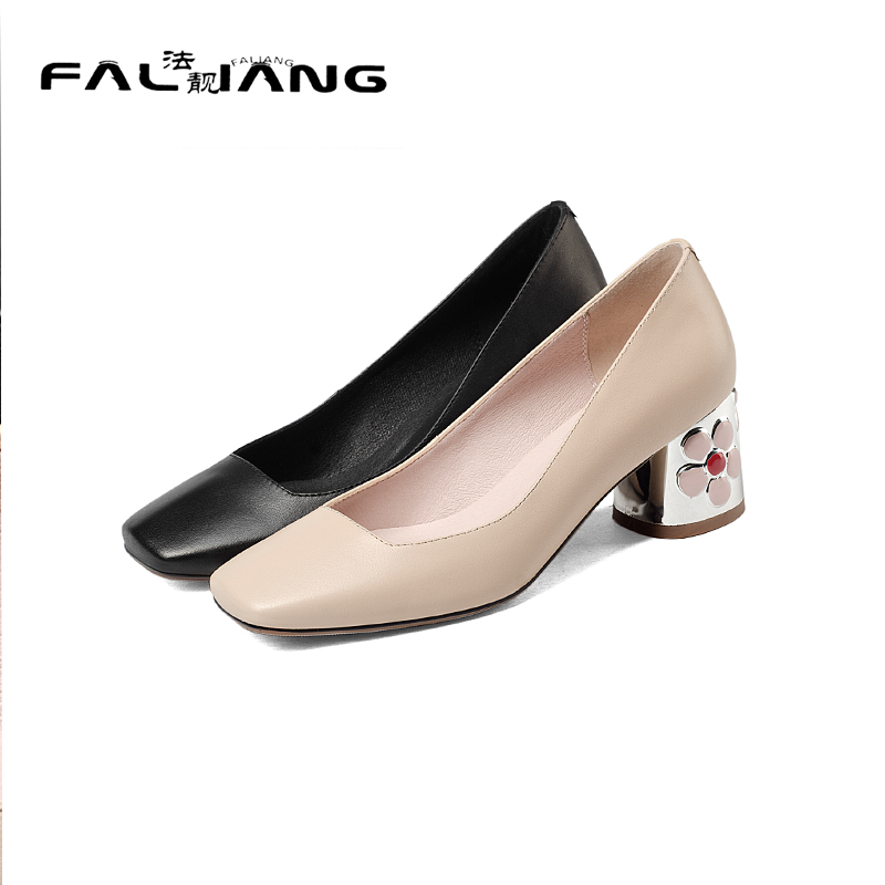 ФОТО 2017 New Genuine Leather Square Toe Big Size 11 12 Spring/Autumn Mature Shallow women shoes woman ladies womens