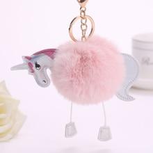 PINXIU NEW ARRIVAL Super Cute Rainbow Horse Unicorn Fluffy Fur Pom Keychain Pendant Bag Charms Handbag Accessory Purse Ornament