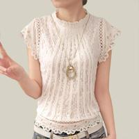 Blusas Femininas 2017 Summer Women Fashion Plus Size Crochet Hollow Out Lace Blouse Short Sleeve White