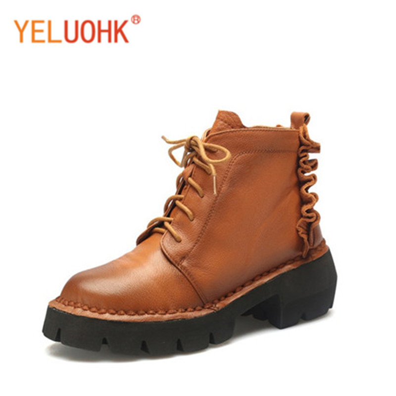 33-43 Genuine Leather Women Winter Boots Platform Winter Women Boots Female Winter Shoes Ankle Boots For Women Top Quality autumn and winter new personality retro cowhide ankle boots handsome female waterproof platform genuine leather women shoes 9731