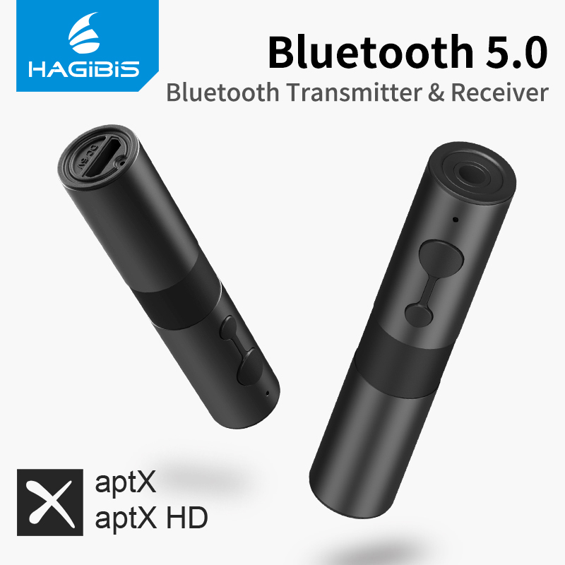 Hagibis Bluetooth 5.0 Transmitter Receiver aptx Adapter 2 in 1 3.5mm Jack Audio Wireless Adapter AUX for TV Headphones PC Car
