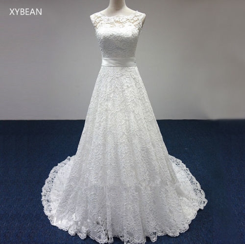 Cheap price 2017 new free shipping cap sleeve lace sashes a line white ivory wedding dresses