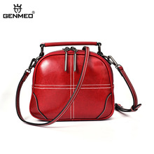 GENMEO Brand New Arrival Genuine Leather Women Handbag with Double Shoulder Strap Female Cow Tote Bags Feminina Bolsa