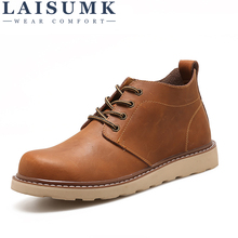 LAISUMK Leather Men Boots Autumn Winter Ankle Fashion Casual Footwear Lace Up Shoes High Quality Vintage