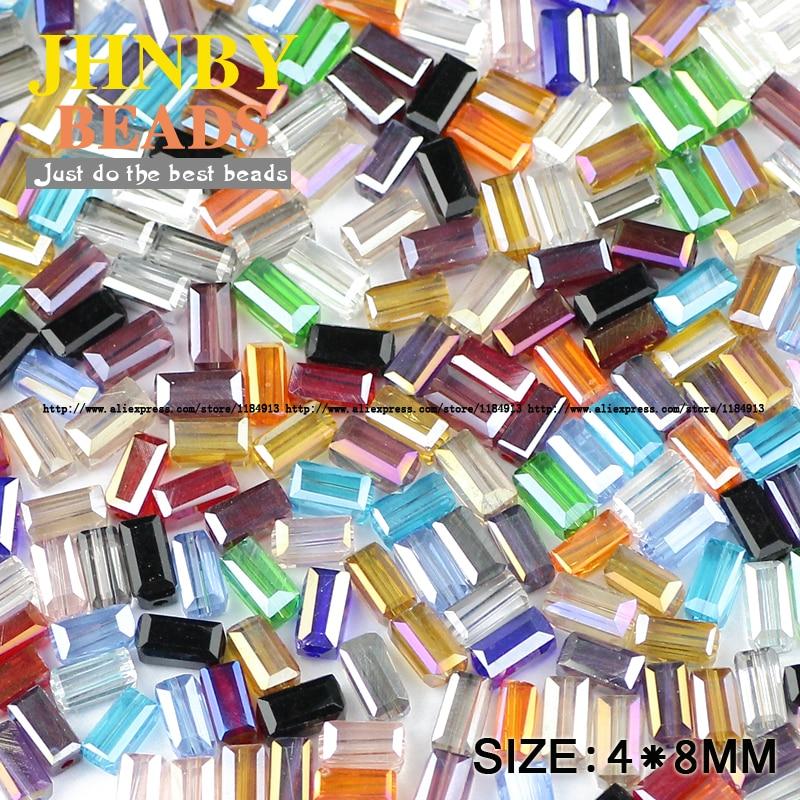 Прямоугольник кристалл Австрийский хрустальные бусины 4*8 мм 50 шт. Высокое качество Квадратные стекла Loose бусы для ювелирных изделий внесении браслет DIY