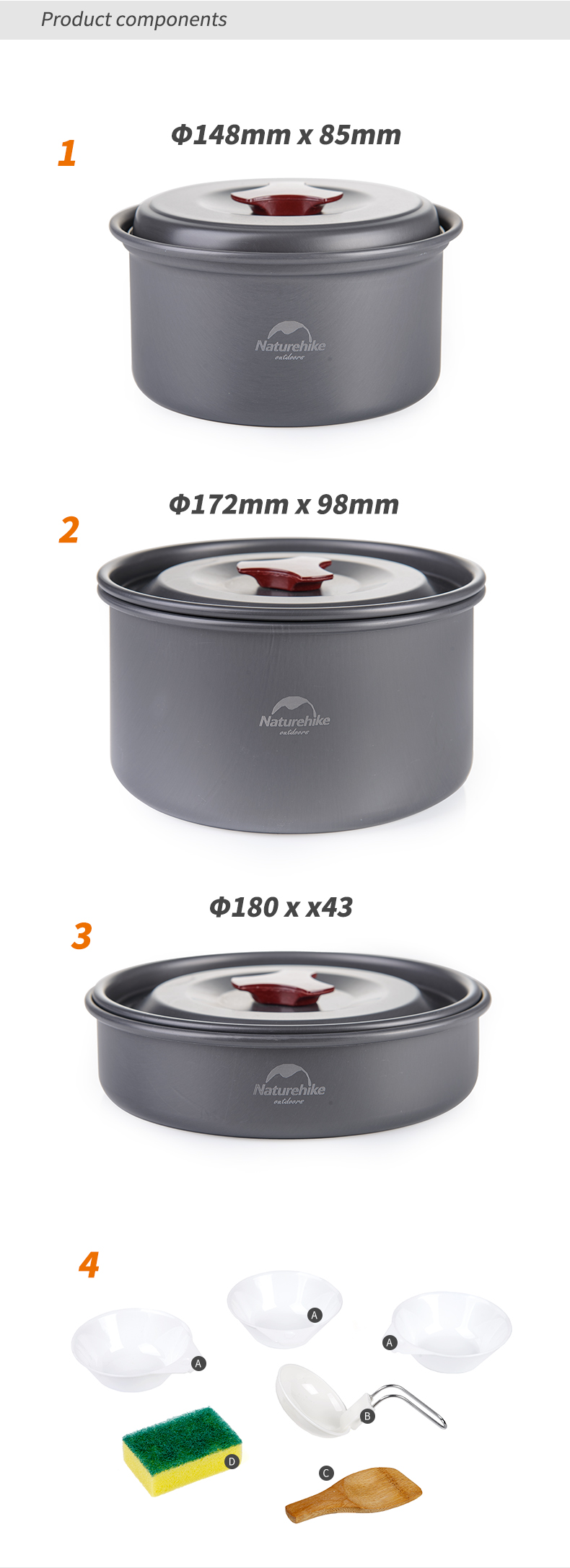 2-3ok  NatureHike Out of doors Tableware Tenting Climbing Cookware Set four in 1 Picnic For two-Three Individual NH15T203-G HTB1XEajRpXXXXbLXpXXq6xXFXXXf