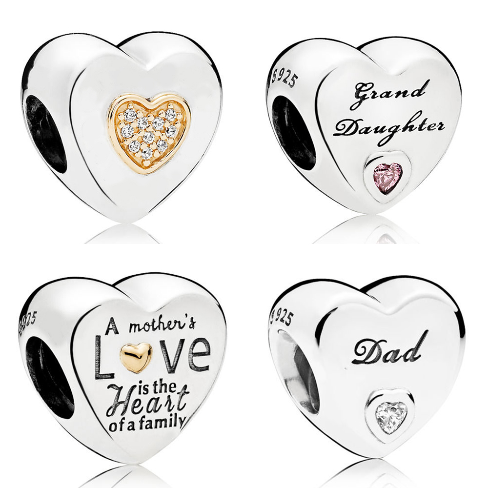 KAKANY PANDORES 100% 925 Sterling Silver HEART OF THE FAMILY TWO-TONE CHARMD Signature Heart Charm DIY Ladies Gift