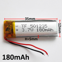 3 7V 180mAh 051235 Lithium Polymer Li Po Rechargeable DIY Battery For Mp3 MP4 MP5 GPS