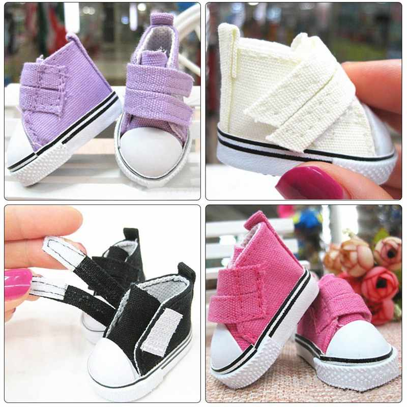 New Style 5cm Doll Shoes Denim Sneakers For Dolls Fashion Denim Canvas Mini Toy Shoes 1/6 For Handmade Doll