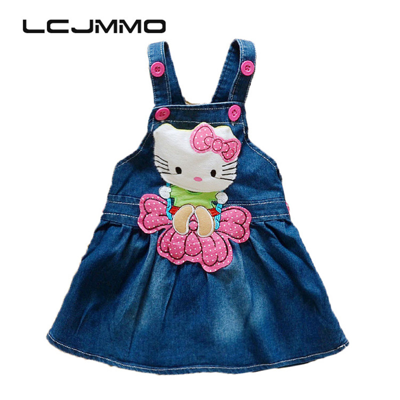 LCJMMO Baby Girl Denim Dress 2017 Summer Cartoon Pattern Girls Overalls Sleeveless Sundress Kids Infant Clothes Size 70-95cm 6m 6 years baby sundress baby girl dress summer denim dresses girls overalls kids jeans children clothes kids clothing 2345789